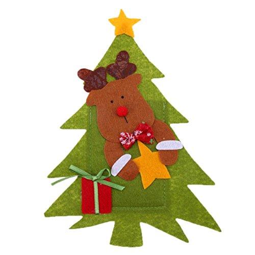 Whitelotous Christmas Cutlery Holder DIY Santa Knife Fork Cover Bag Party DecorElk