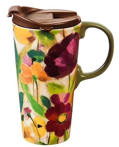 Cypress Home Brilliant Garden Ceramic Travel Coffee Mug 17 ounces