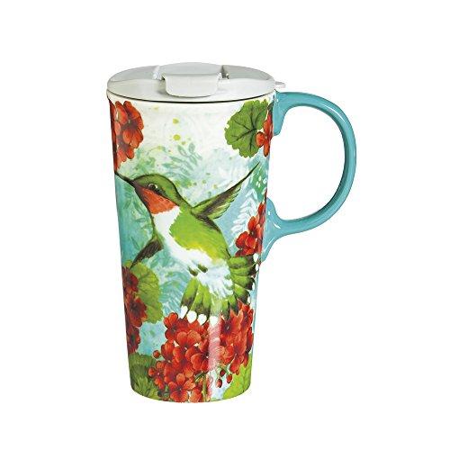 Cypress Home Hummingbird Trio Ceramic Travel Coffee Mug 17 ounces