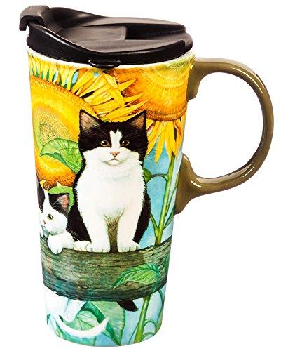 Cypress Home Sunflower Kittens Ceramic Travel Coffee Mug 17 ounces