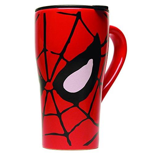 Silver Buffalo MC7088 Marvel Comics Spider-Man Eyes Ceramic Travel Mug with Friction Lid 18-Ounces
