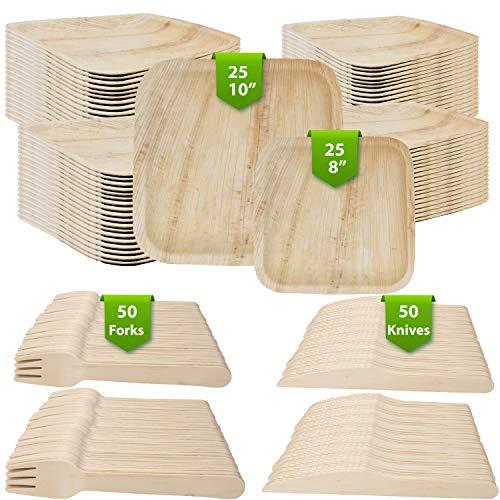 150Ct Eco Friendly Biodegradable Plates Palm Leaf Dinnerware 25 10In Palm Leaf Disposable Plates 25 8In Palm Leaf Plates 50 Wood Forks 50 Wood Knives