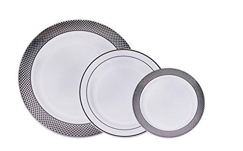 AVANT - 60 Premium Disposable Plastic Dinner Plates 20 dinner  20 Salad  20 Dessert in a New White Silver Elegant Design Set