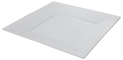Exquisite 95 Inch White Square Premium Plastic Plates - 40 Count - China Like