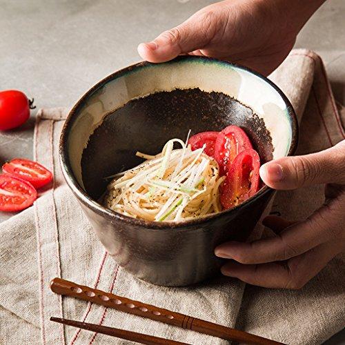 Creative Ceramic Fruit Salad Bowl Household Irregular Vintage Ramen Deep Soup Bowl  Size  Large