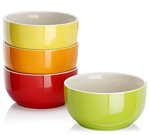 Lifver 20-Ounce Porcelain SoupCereal Bowl Set - 4 Packs Assorted Colors