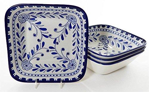 Le Souk Ceramique AZ38 Stoneware Square PastaSalad Bowls Set of 4 Azoura