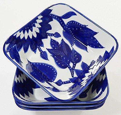 Le Souk Ceramique JA38 Stoneware Square PastaSalad Bowls Set of 4 Jinane