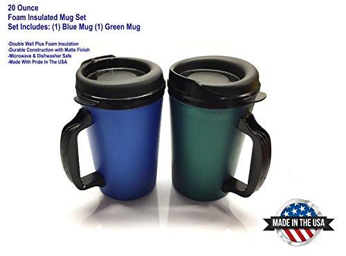 2 ThermoServ Foam Insulated Coffee Mug 20 oz wLids 1Blue 1 Green