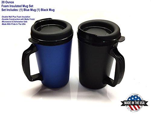 2 ThermoServ Foam Insulated Coffee Mugs 20 oz 1Blue 1Black
