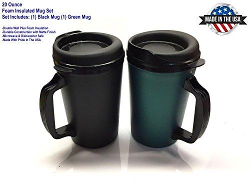 20 oz ThermoServ Foam Insulated Coffee Mug BlackGreen Two Pack
