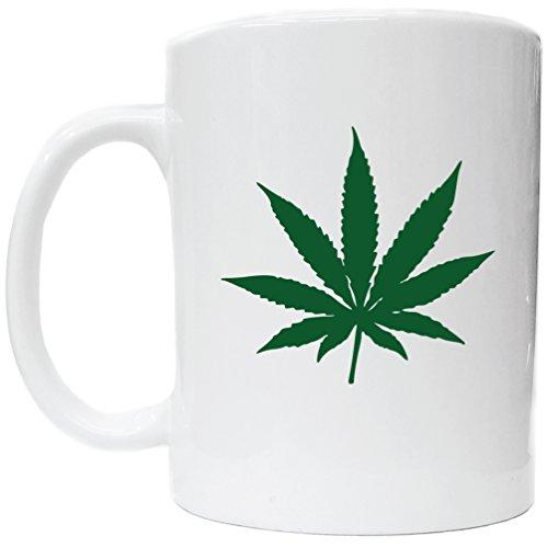Marijuana Cannabis Pot Leaf Picture on White Ceramic Coffee Cup Kitchen