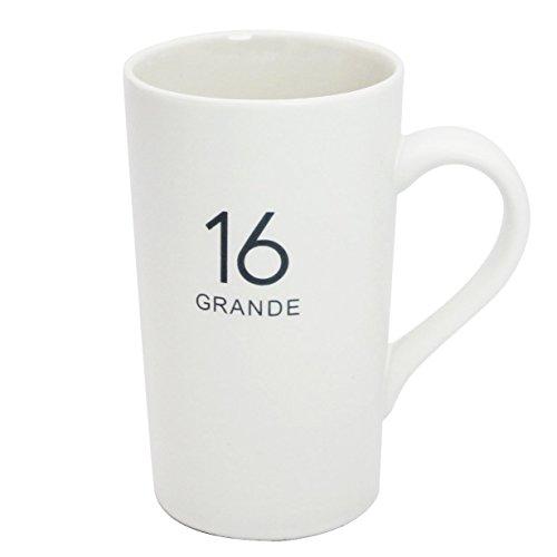 Momugs Number Pattern Simple Pure Large Milk Mug Tall White Ceramic Coffee Cup 16 oz