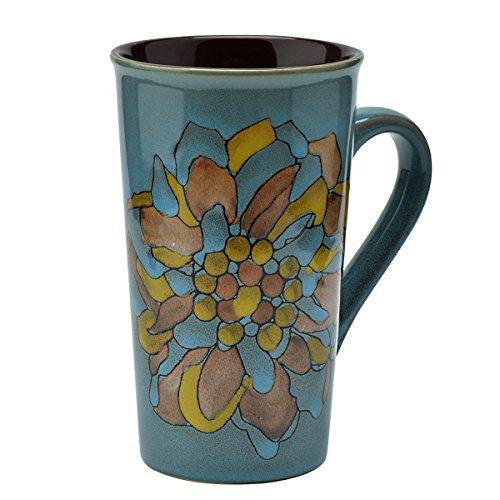 Moonwind 450ml Vintage Flower Unique Hand-Painted Large Ceramic Milk Tea Coffee Cup Mugs for Gift 450ml Flower Flower No Leaf Blue