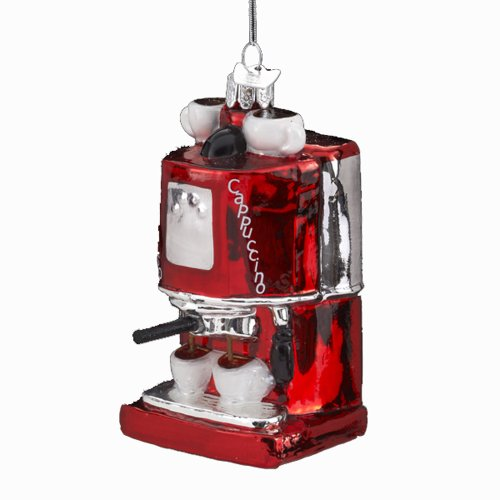 Kurt Adler 4-Inch Noble Gems Glass EspressoCappuccino Machine Ornament