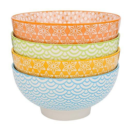 Vancasso 4-Piece 4 Colors Patterned Porcelain China Ceramic 6 Dinner Serving Bowls Cereal Soup Pasta Dessert Bowl Set