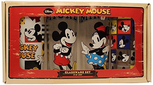 Silver Buffalo DL031T2 Disney Mickey and Minnie Glass Tumbler Set  4-Piece Set 10 oz Clear
