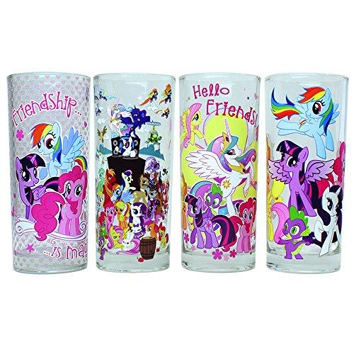 Silver Buffalo MLP031T1 Hasbro My Little Pony 4 Piece Glass Tumbler Set 10 oz Clear