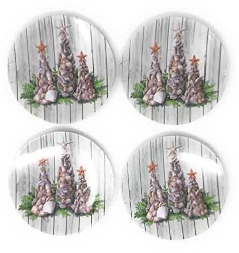 Christmas Holiday Seashell Tree Heavyweight Melamine Appetizer Plates Set of 4