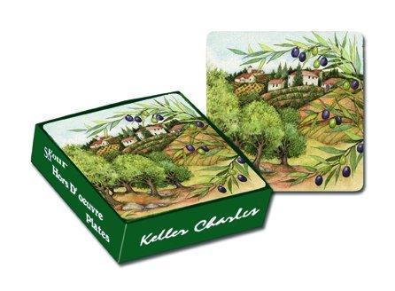 Keller-Charles Olive Grove Melamine Appetizer Plates boxed set of four