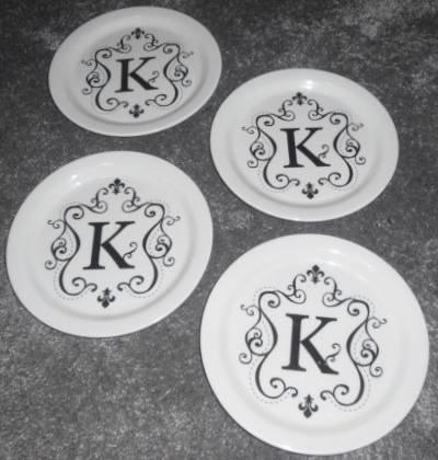Mango Moon Melamine Appetizer Plates - Letter K Set of 4