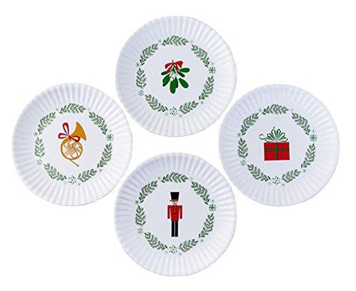 Nutcracker Holiday Christmas 75 Melamine Appetizer Plates Assorted Set of 4
