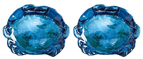 Rustico Sea Life Crab Melamine Appetizer Plates Set of 2 Blue