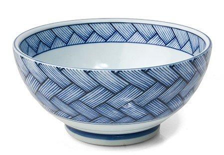 Japanese Blue and White Basket Weave 725 RamenUdon Bowl