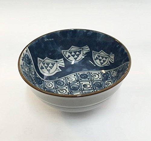 675 Inch Donburi Bowl Blue White w Fish