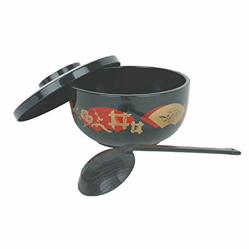 Donburi Bowls w ladle Japanese style for soup noodle restaurant asian tableware Black