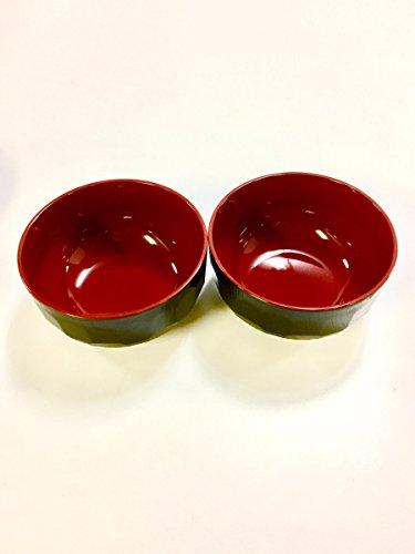 JapanStyle Japanese Miso Soup Donburi Bowl dia 125 cm 77g Black x Vermilion  x 2
