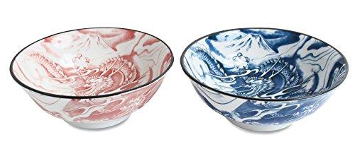 Mino ware Pair Ramen Noodle Donburi Bowl Dragon and Mt Fuji Blue Red made in Japan