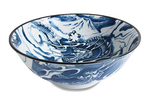 Mino ware Ramen Noodle Donburi Bowl Dragon and Mt Fuji Blue made in Japan