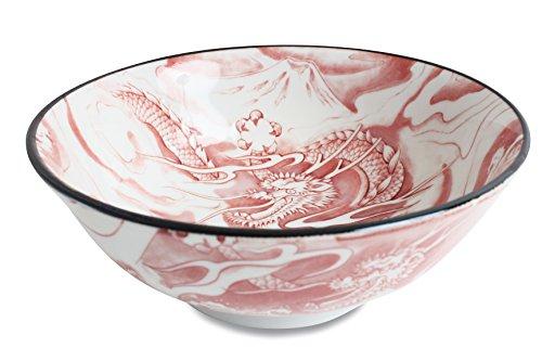 Mino ware Ramen Noodle Donburi Bowl Dragon and Mt Fuji Red made in Japan