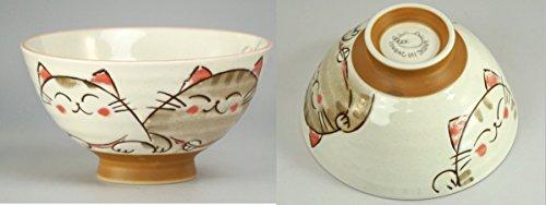 Japanese rice bowl set ceramic cute smiling cats design set of 2 bowls
