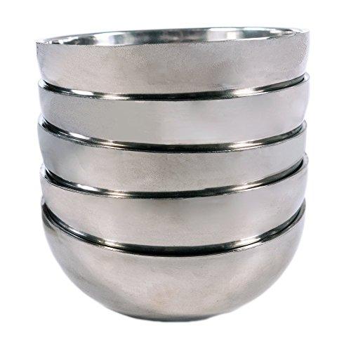"TukTek Set of 5 Stainless Steel Snack Bowls – 46"" Silver Rice Bowl Set"