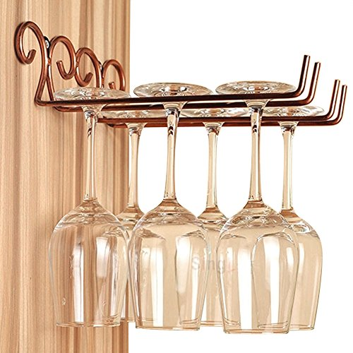 DBYAN Wine Glass RackVintage Style Bronze 2 Rows Stainless Steel Wall-Mounted Stemware Hanging Wine Glass Hanger Holder for Valentine Gift Bar Home Cafe