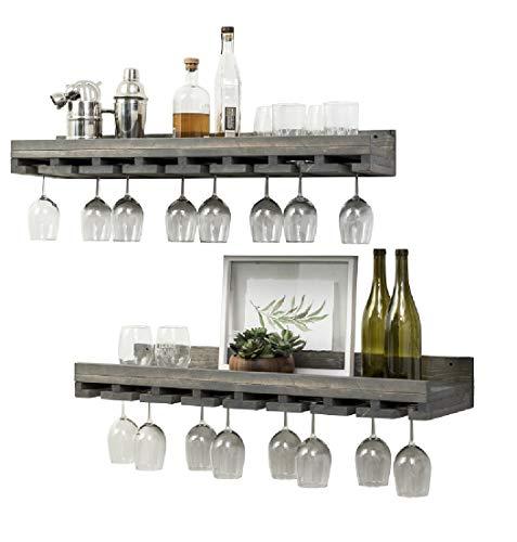 Rustic Wooden Wall Mounted Handmade Tiered Wine Glass Racks Grey 36 Inch
