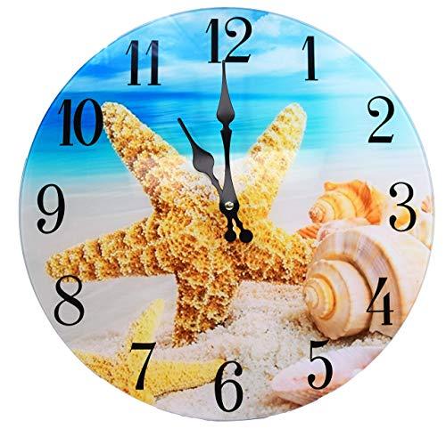 Sea Creations Shell Glass Wall Clock New 13X 13 Home Wall Decor Coastal Nautical Beach