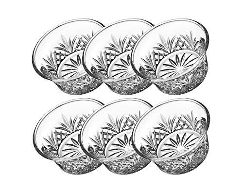 Godinger Bowl Set - Crystal Mini Prep Dip Dessert Bar Snack Dish Bowls - 2oz Set of 6