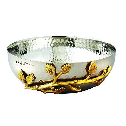 Elegance Golden Vine Hammered Stainless Steel Salad Bowl 65-Inch SilverGold
