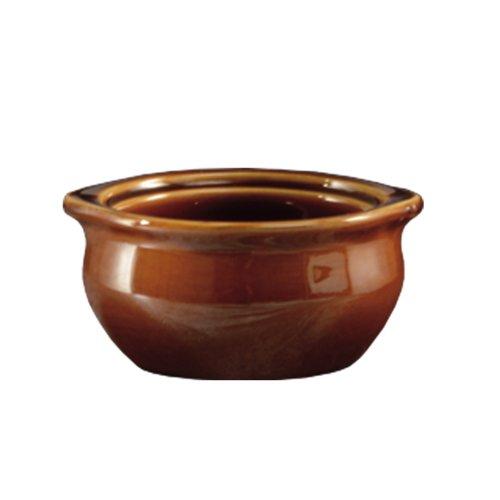 CAC China OC-12-BWN 12-Oz Stoneware Round Onion Soup Crock 5 Diameter x 2-38 High Brown - 1 Each