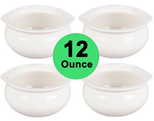 Real 12 Ounce - White Porcelain Onion Soup Crock Bowls Set of 4