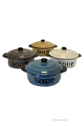 Set 4 Stoneware Vintage-Style 16oz French Onion Soup Crock Bowls with Lids
