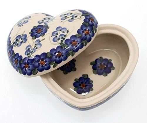 Classic Boleslawiec Pottery Hand Painted Ceramic Heart Shaped Bowl 03 litre 124-U-001