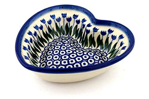 Polish Pottery Heart Shaped Bowl 6-inch made by Ceramika Artystyczna Water Tulip Theme