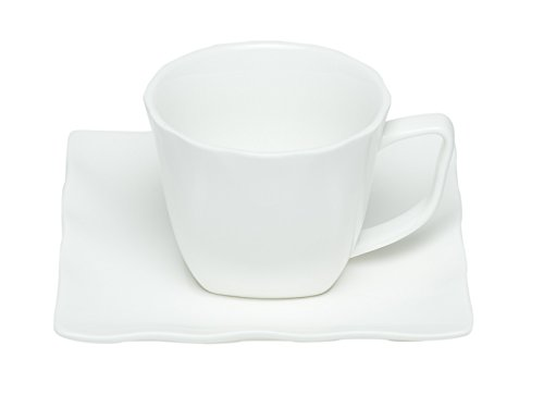 Red Vanilla Wave espresso Cup and Saucer Set of 6 4 oz