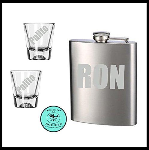 Puerto Rican Flask and Shot Glass Gift Set Caneca de Ron y dos palitos de acompañantes