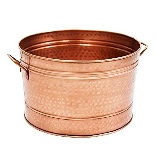 Achla Designs Round Hammered Copper Plated Galvanized Tub