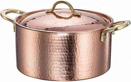 New DEMMEX 12MM Thick Hammered Copper Soup Pot Stew Pan Casserole 34 Quart 34 Quart